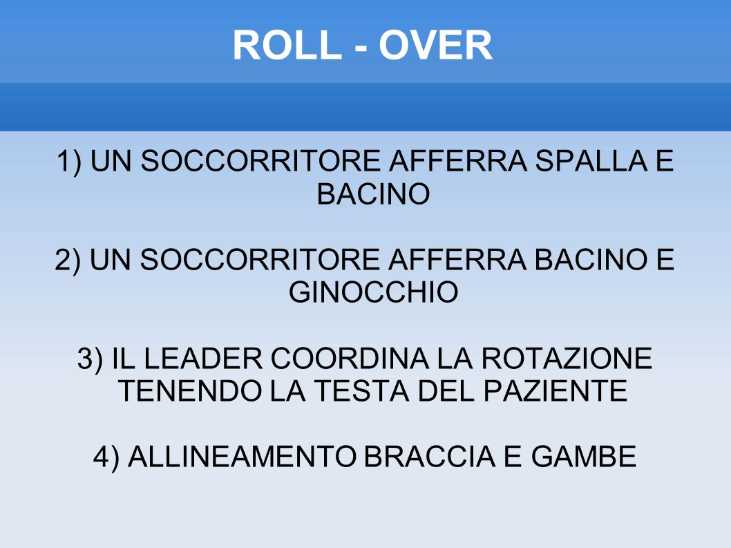 ROLL - OVER 1) UN SOCCORRITORE AFFERRA SPALLA E BACINO