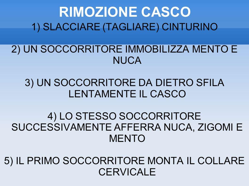 RIMOZIONE CASCO 1) SLACCIARE (TAGLIARE) CINTURINO