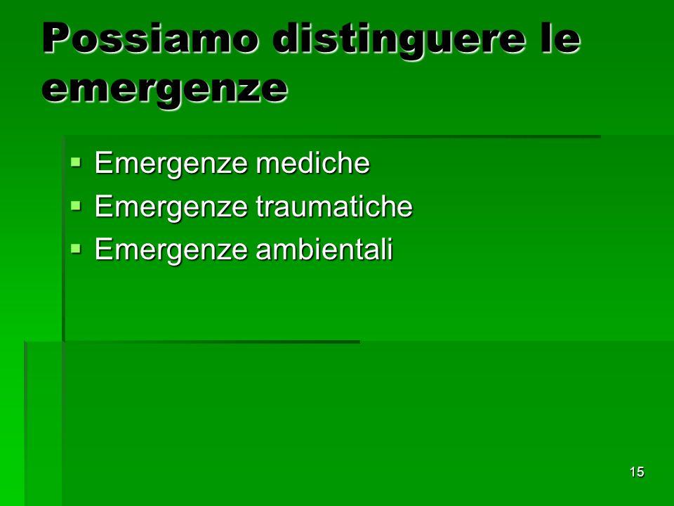 Possiamo distinguere le emergenze
