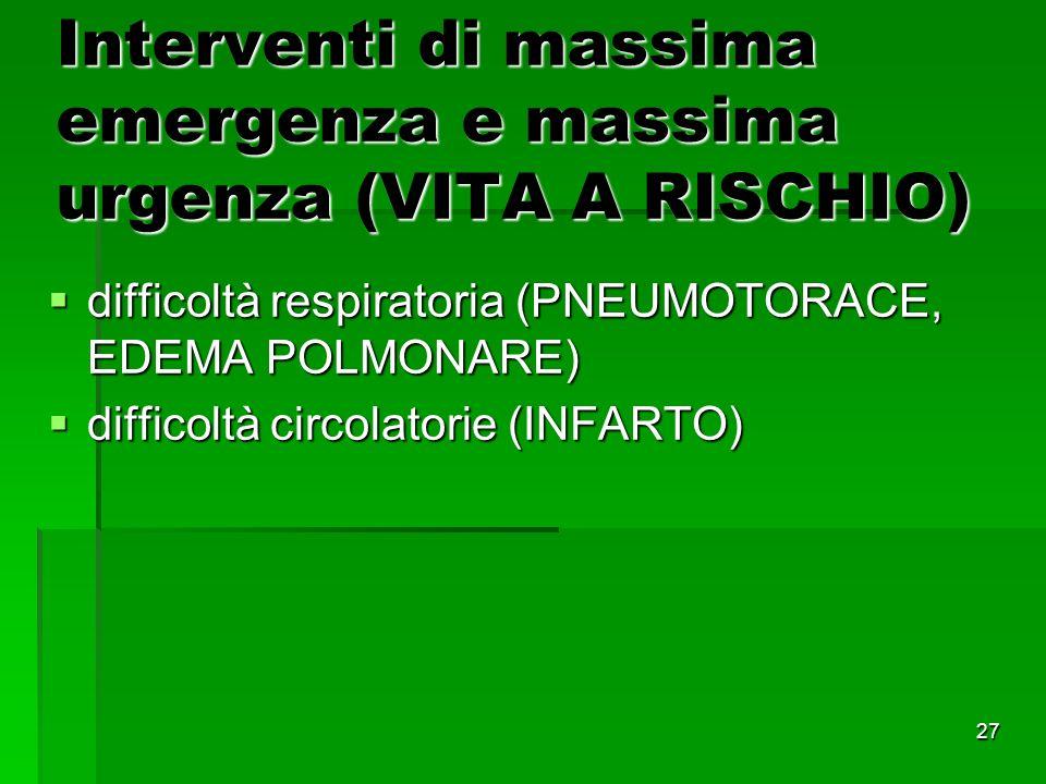 Interventi di massima emergenza e massima urgenza (VITA A RISCHIO)