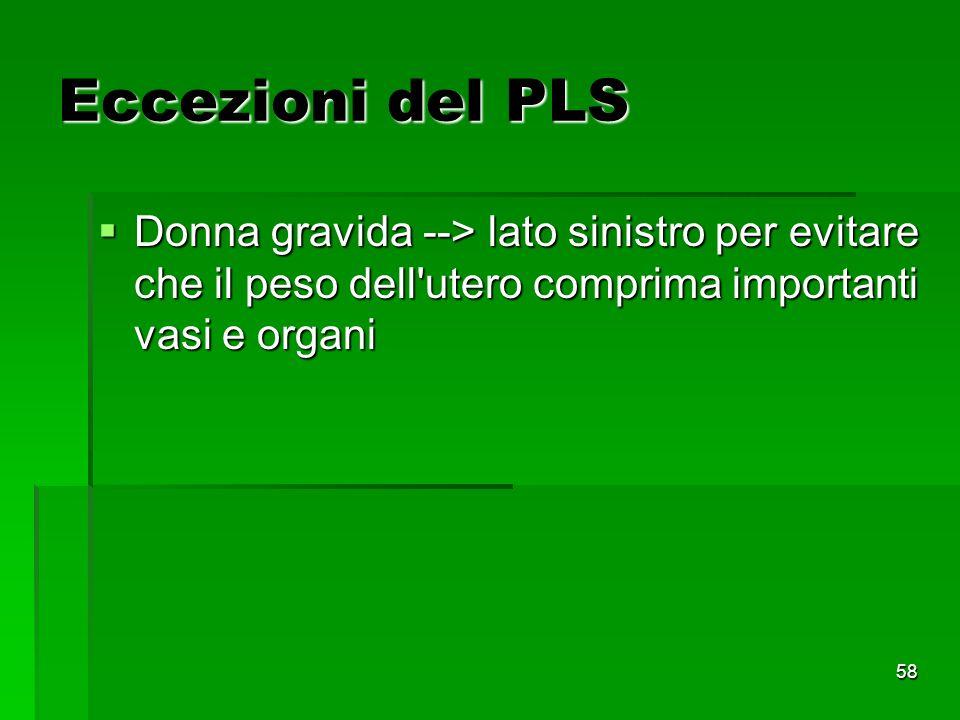 Eccezioni del PLS Donna gravida --> lato sinistro per evitare che il peso dell utero comprima importanti vasi e organi.