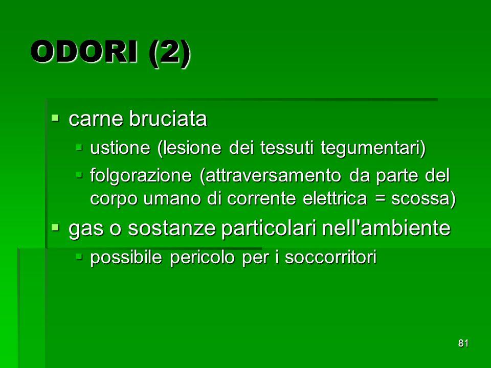 ODORI (2) carne bruciata gas o sostanze particolari nell ambiente