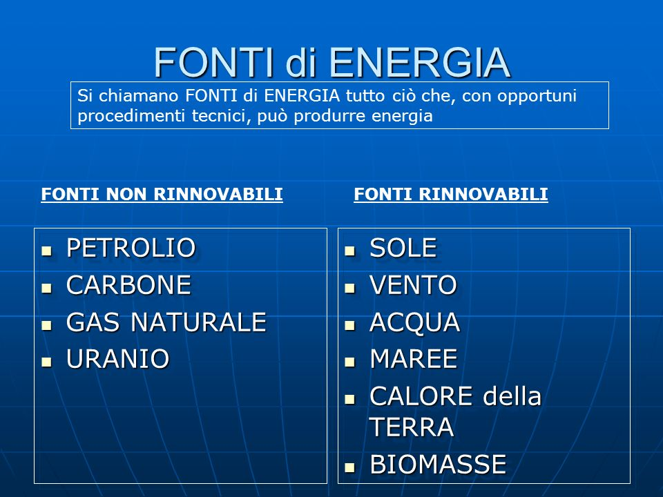 FONTI di ENERGIA PETROLIO CARBONE GAS NATURALE URANIO SOLE VENTO ACQUA