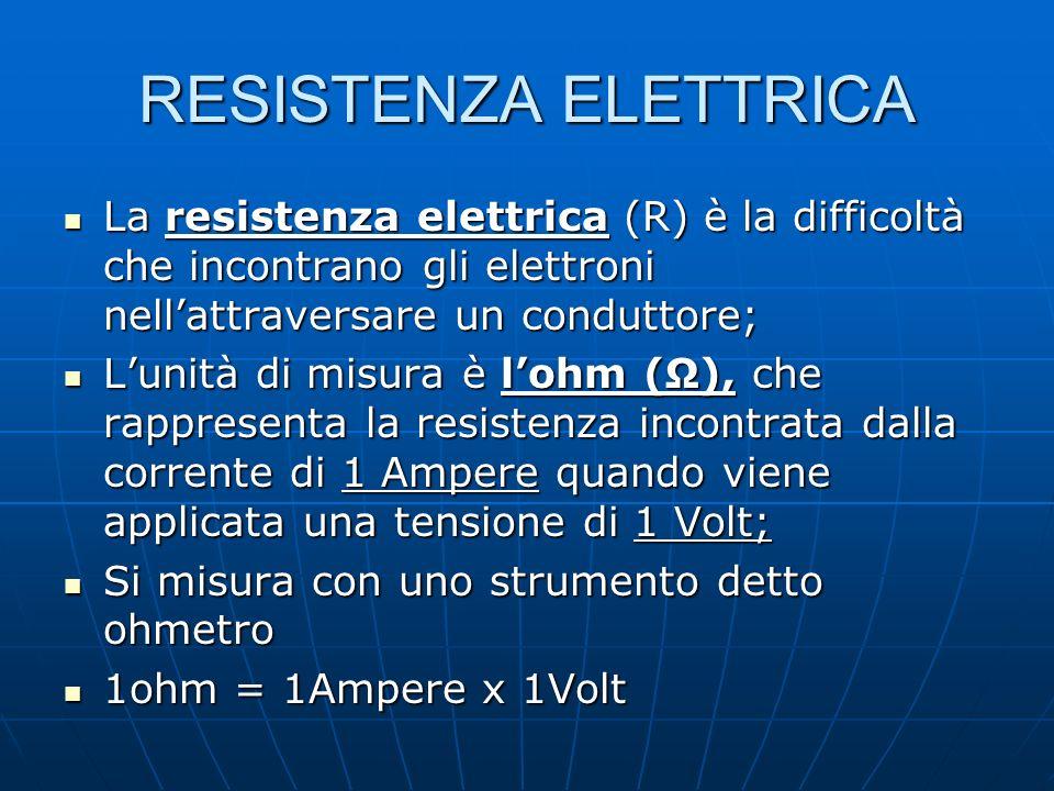 RESISTENZA ELETTRICA La resistenza elettrica (R) è la difficoltà che incontrano gli elettroni nell'attraversare un conduttore;