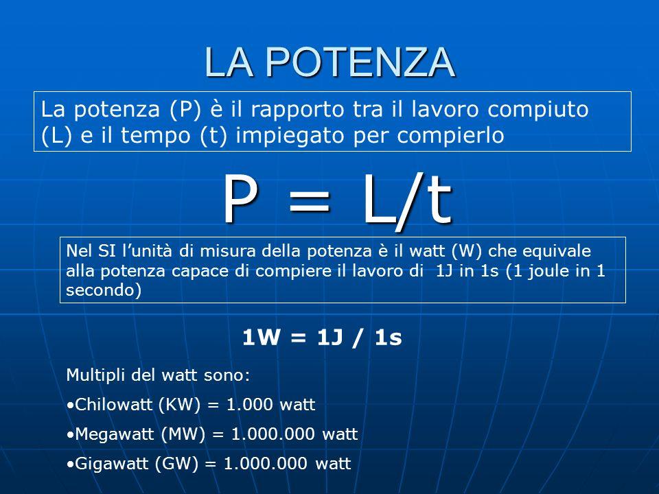 LA POTENZA La potenza (P) è il rapporto tra il lavoro compiuto (L) e il tempo (t) impiegato per compierlo.