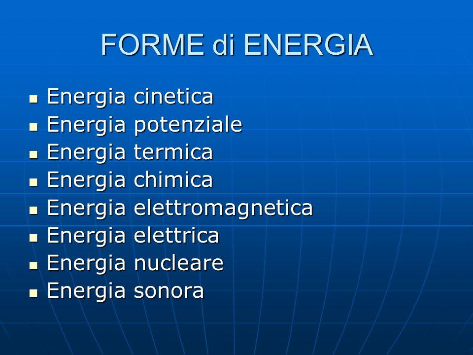 FORME di ENERGIA Energia cinetica Energia potenziale Energia termica