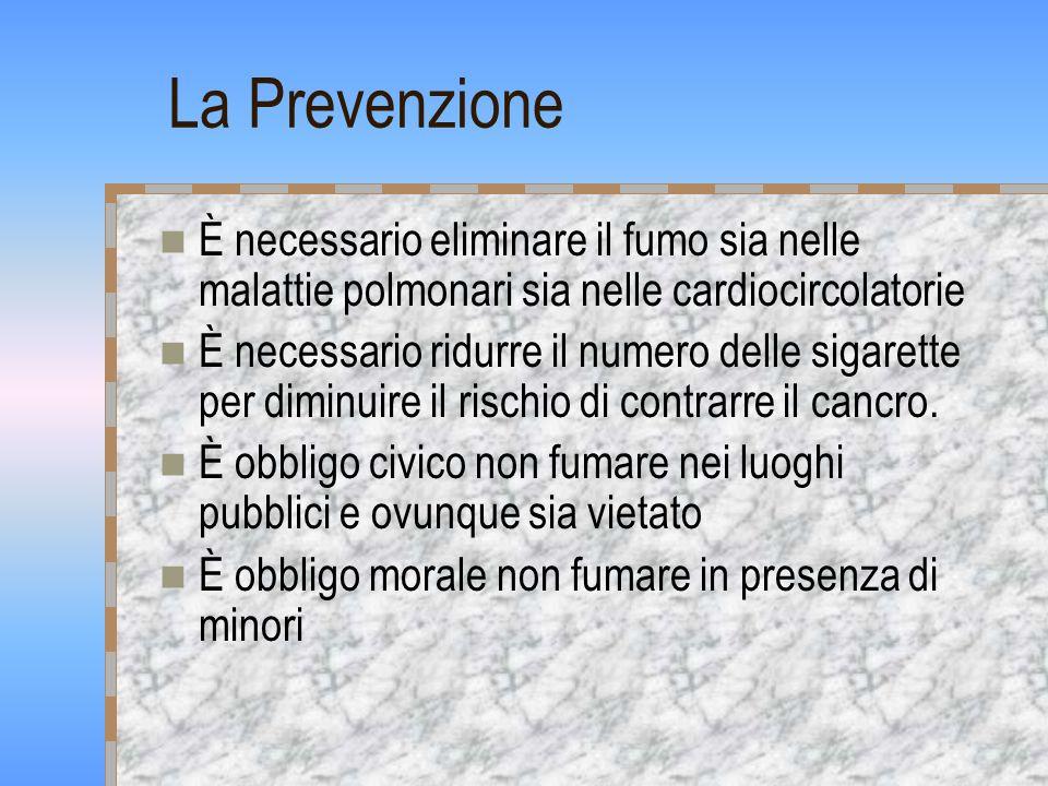 La Prevenzione È necessario eliminare il fumo sia nelle malattie polmonari sia nelle cardiocircolatorie.