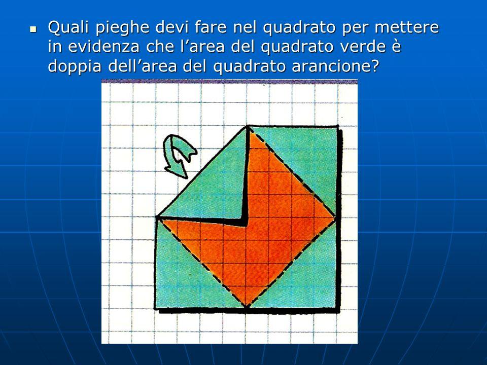 Quali pieghe devi fare nel quadrato per mettere in evidenza che l'area del quadrato verde è doppia dell'area del quadrato arancione