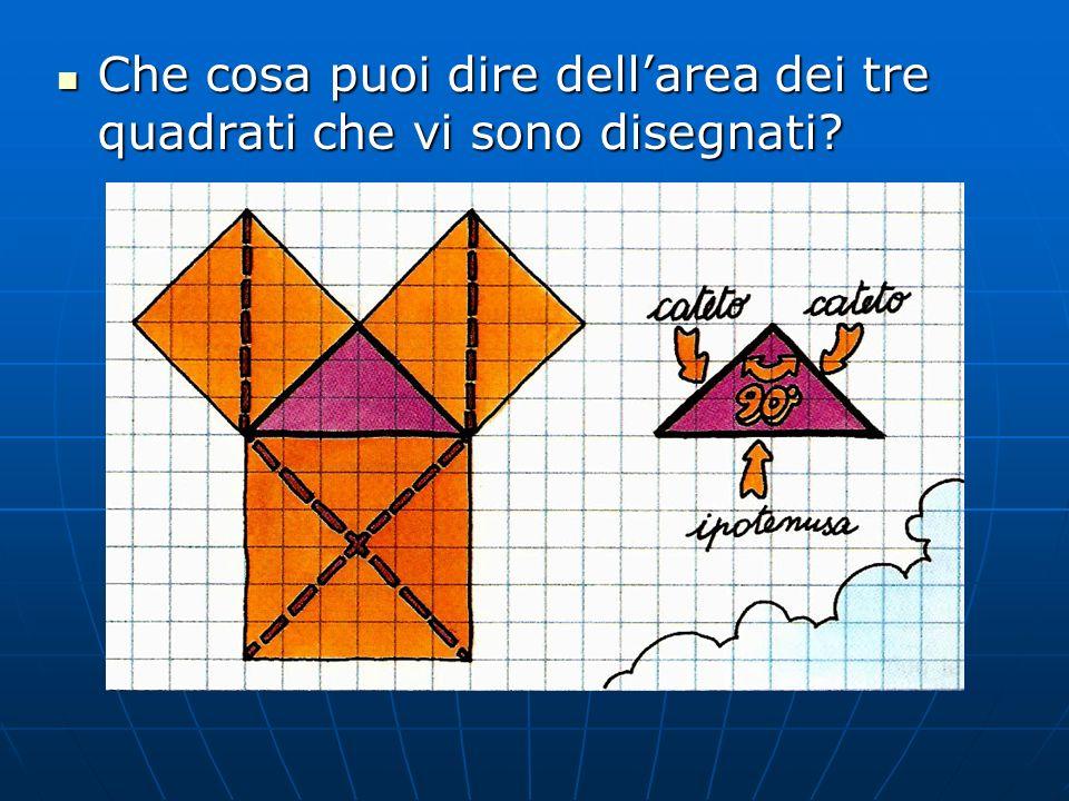 Che cosa puoi dire dell'area dei tre quadrati che vi sono disegnati