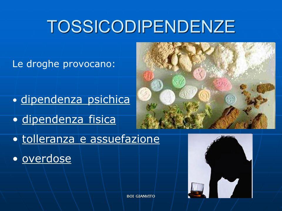 TOSSICODIPENDENZE dipendenza fisica tolleranza e assuefazione overdose