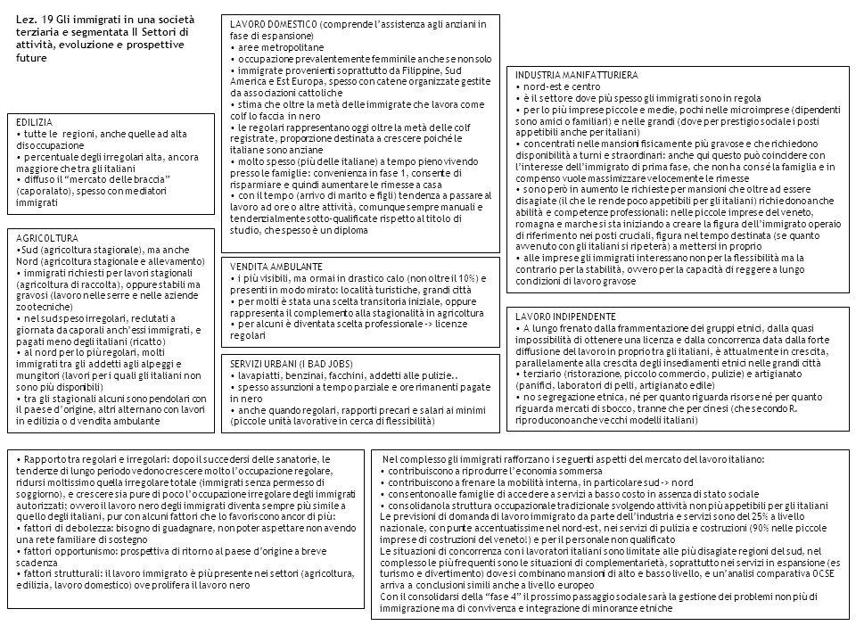 Lez. 19 Gli immigrati in una società terziaria e segmentata II Settori di attività, evoluzione e prospettive future