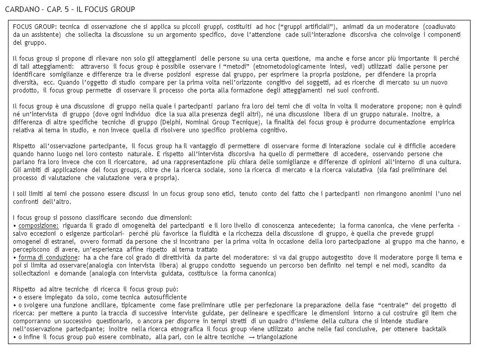 CARDANO - CAP. 5 – IL FOCUS GROUP