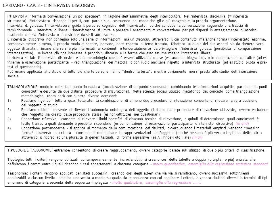 CARDANO - CAP. 3 – L'INTERVISTA DISCORSIVA