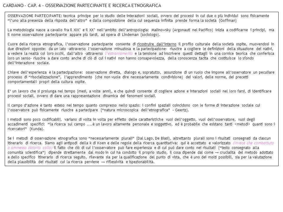 CARDANO - CAP. 4 – OSSERVAZIONE PARTECIPANTE E RICERCA ETNOGRAFICA