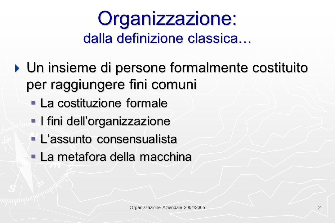 Organizzazione: dalla definizione classica…