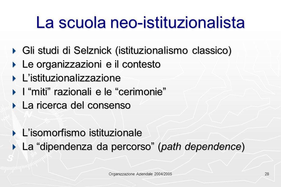 La scuola neo-istituzionalista