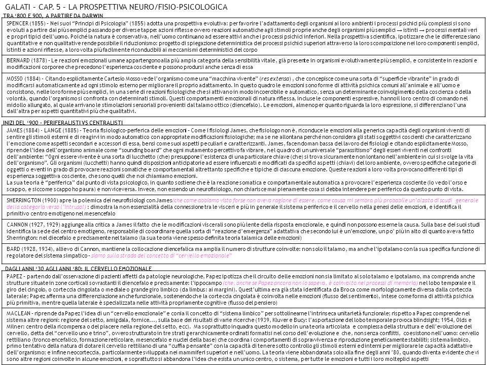 GALATI – CAP. 5 – LA PROSPETTIVA NEURO/FISIO-PSICOLOGICA