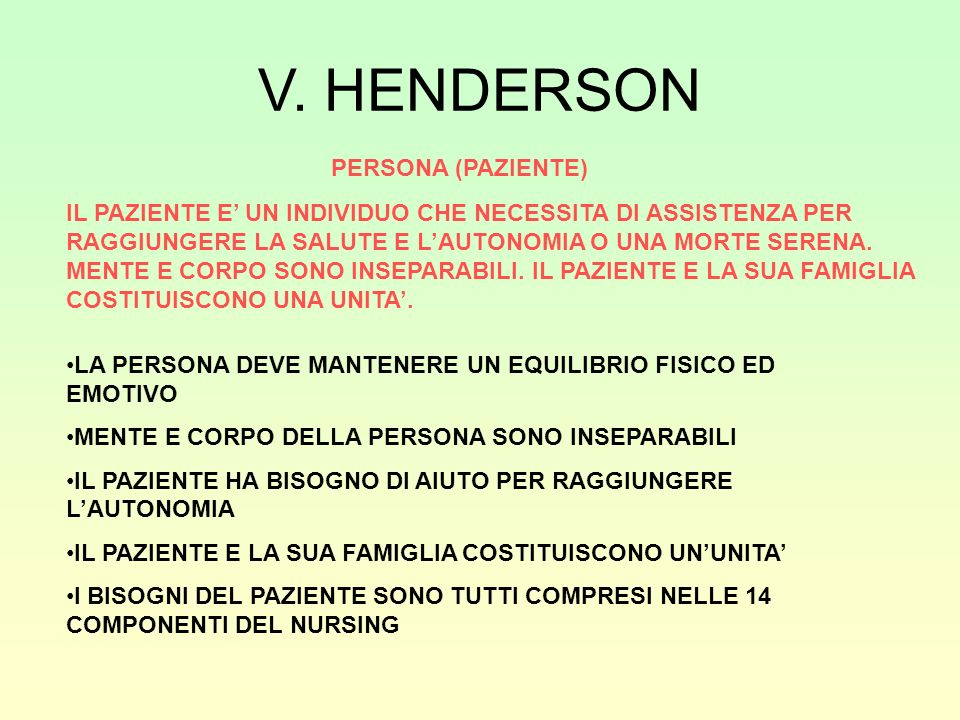 V. HENDERSON PERSONA (PAZIENTE)