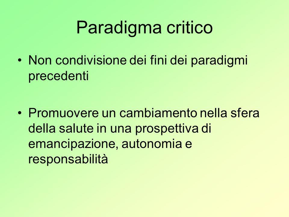 Paradigma critico Non condivisione dei fini dei paradigmi precedenti