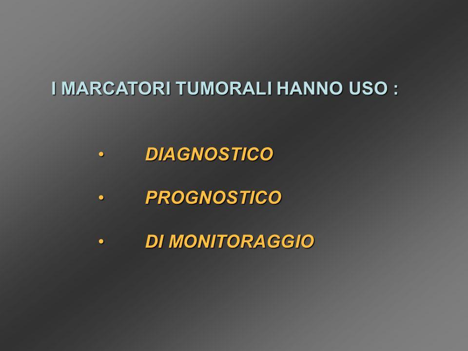 I MARCATORI TUMORALI HANNO USO :