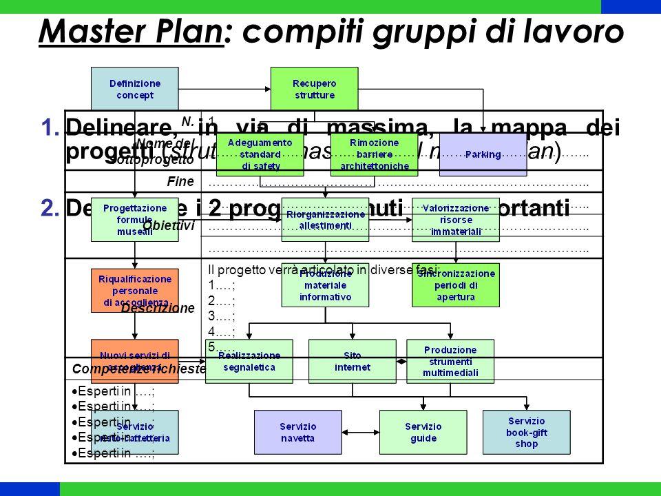 Master Plan: compiti gruppi di lavoro