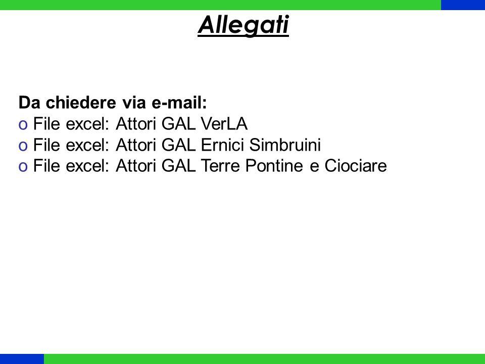Allegati Da chiedere via e-mail: File excel: Attori GAL VerLA