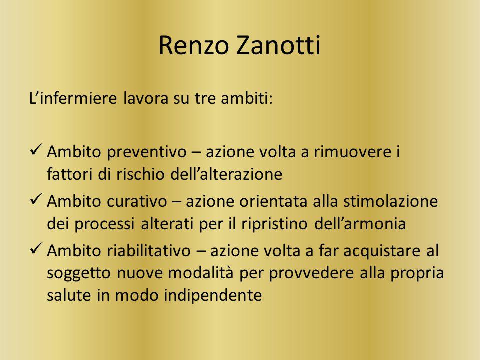 Renzo Zanotti L'infermiere lavora su tre ambiti: