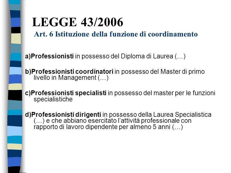 LEGGE 43/2006 Art. 6 Istituzione della funzione di coordinamento