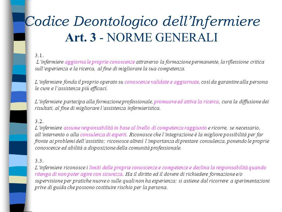 Codice Deontologico dell'Infermiere Art. 3 - NORME GENERALI