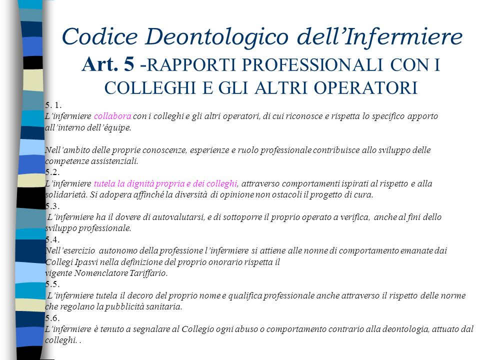 Codice Deontologico dell'Infermiere Art