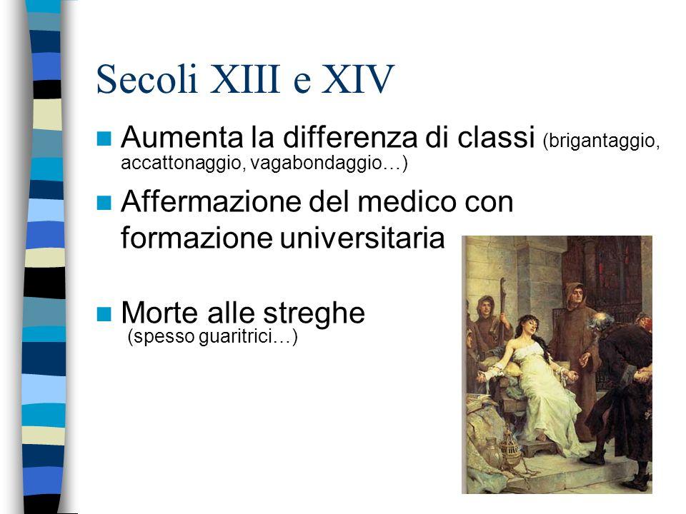 Secoli XIII e XIV Aumenta la differenza di classi (brigantaggio, accattonaggio, vagabondaggio…) Affermazione del medico con formazione universitaria.