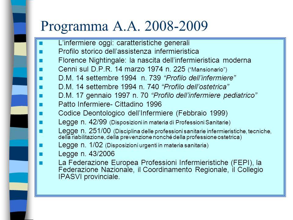 Programma A.A. 2008-2009 L'infermiere oggi: caratteristiche generali