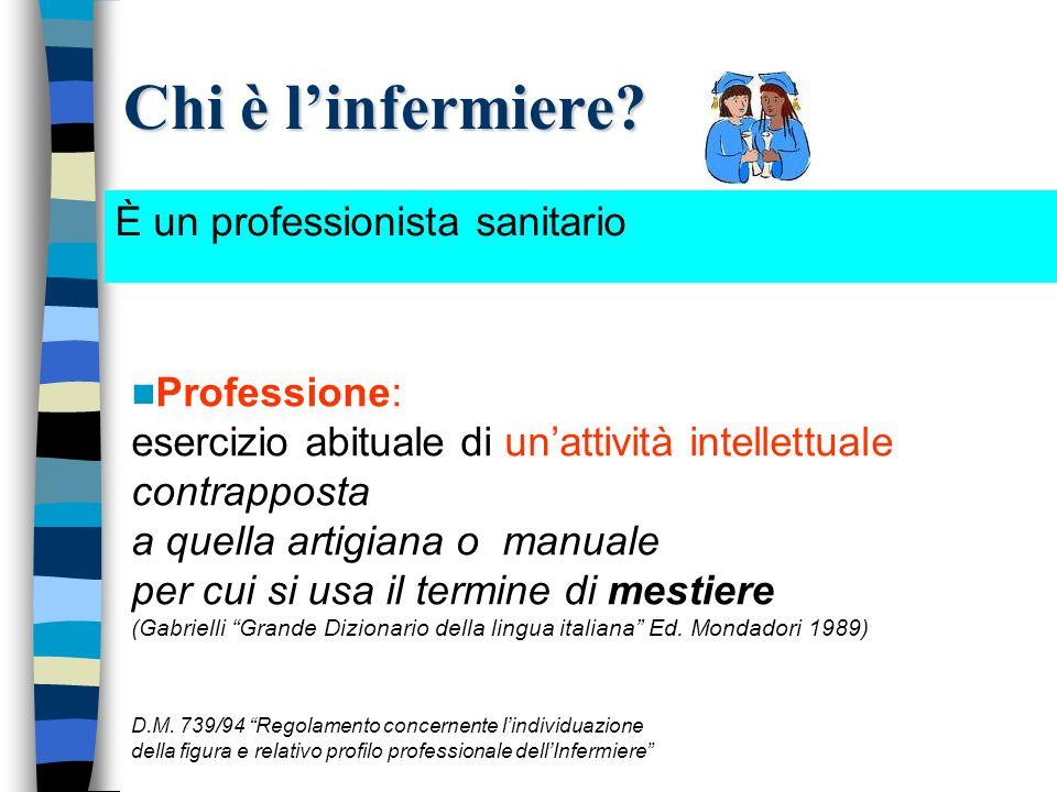 Chi è l'infermiere È un professionista sanitario Professione: