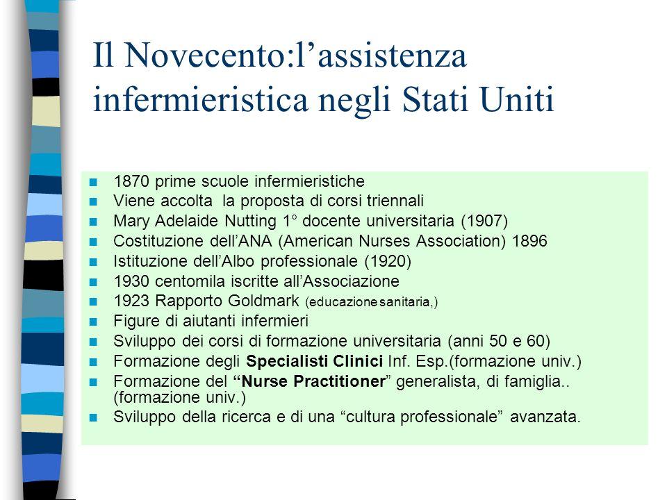 Il Novecento:l'assistenza infermieristica negli Stati Uniti