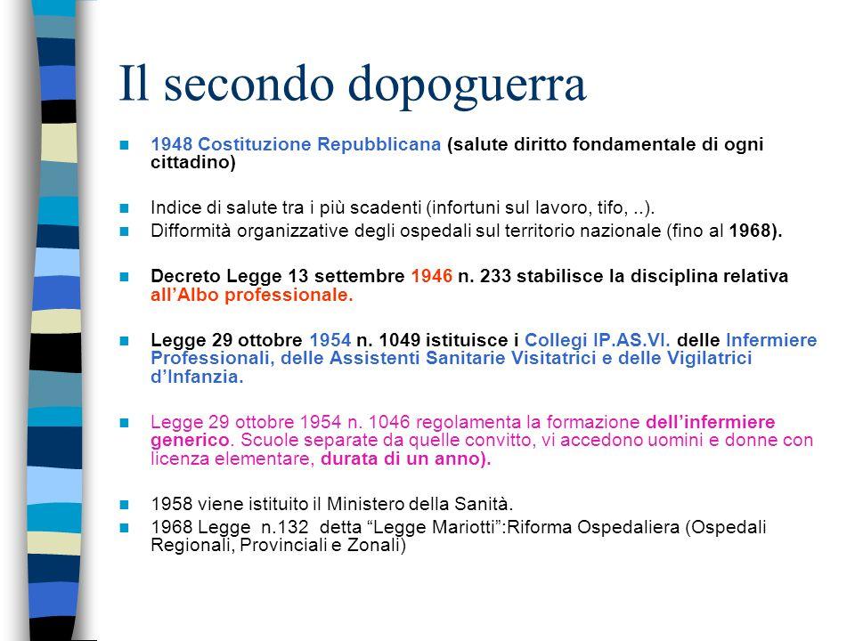 Il secondo dopoguerra 1948 Costituzione Repubblicana (salute diritto fondamentale di ogni cittadino)