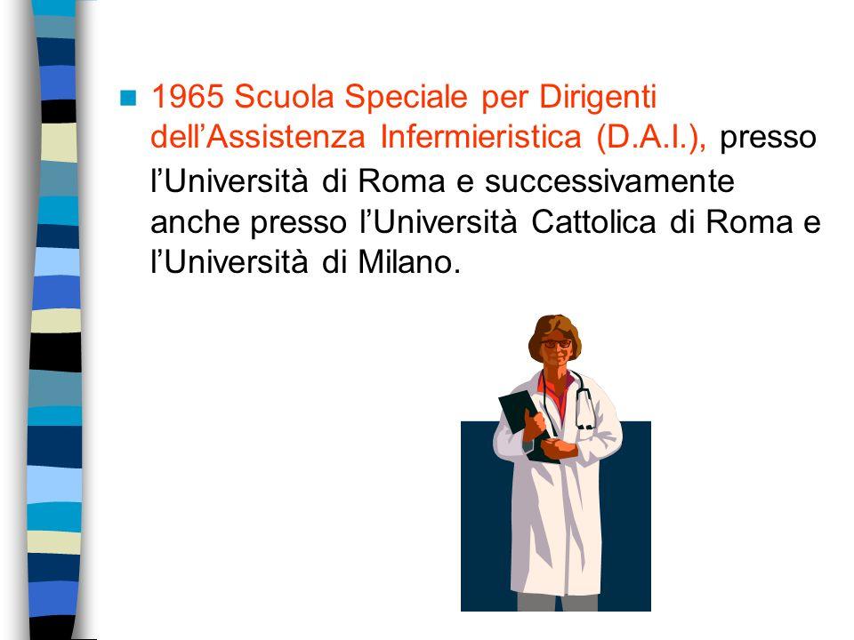 1965 Scuola Speciale per Dirigenti dell'Assistenza Infermieristica (D