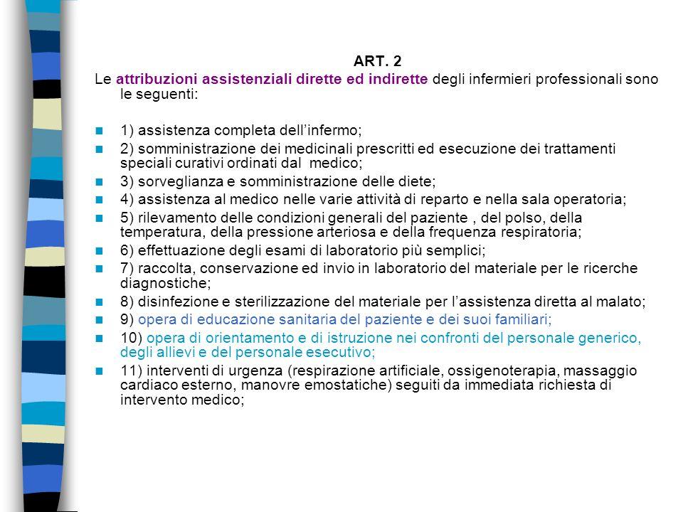 ART. 2 Le attribuzioni assistenziali dirette ed indirette degli infermieri professionali sono le seguenti: