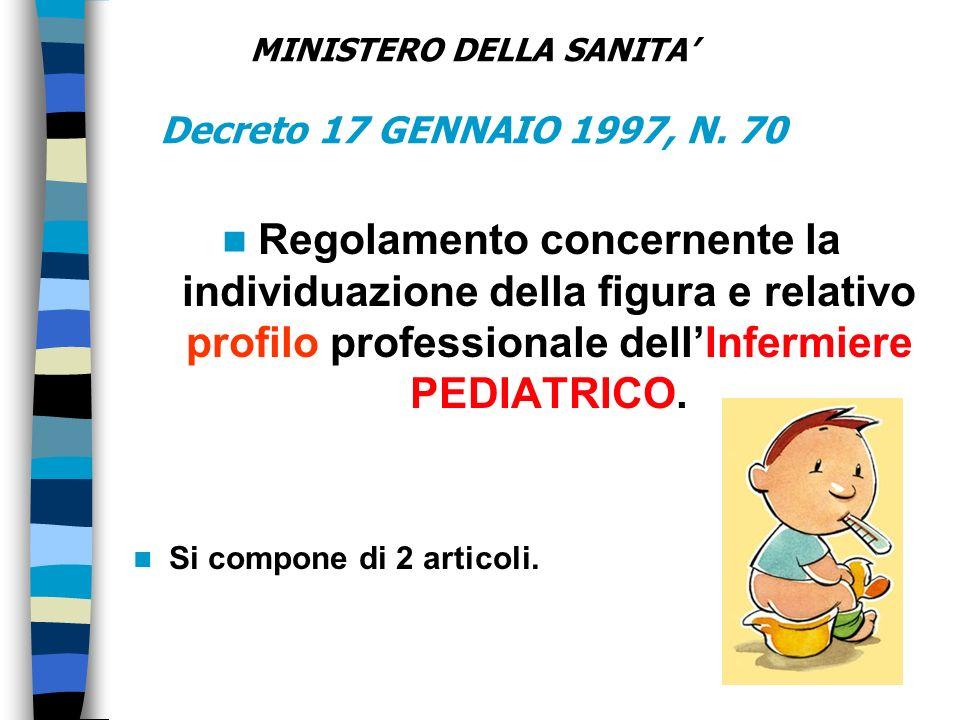 MINISTERO DELLA SANITA' Decreto 17 GENNAIO 1997, N. 70
