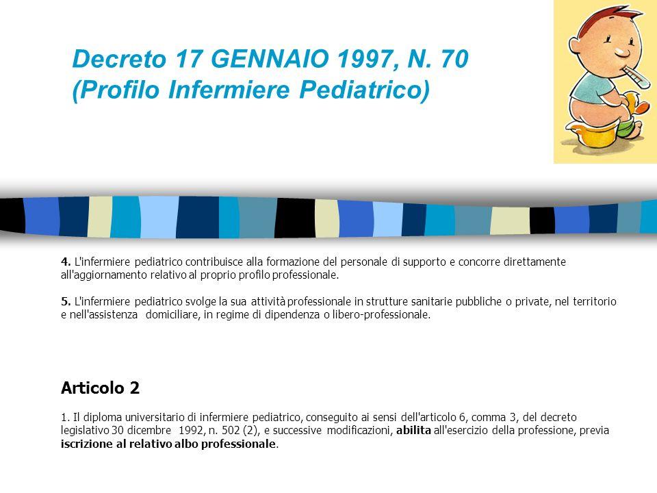 Decreto 17 GENNAIO 1997, N. 70 (Profilo Infermiere Pediatrico)