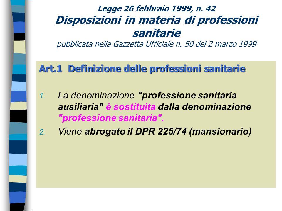 Art.1 Definizione delle professioni sanitarie