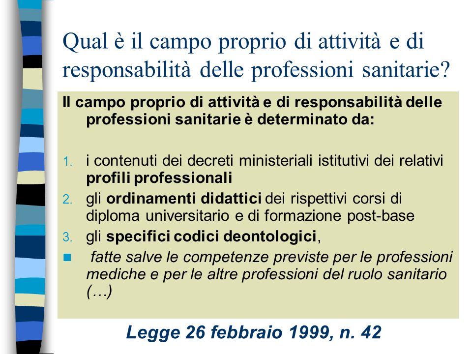 Qual è il campo proprio di attività e di responsabilità delle professioni sanitarie