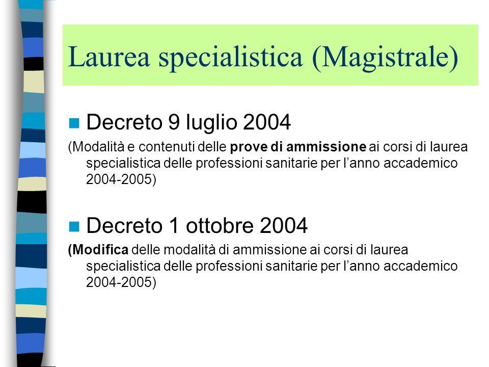 Laurea specialistica (Magistrale)