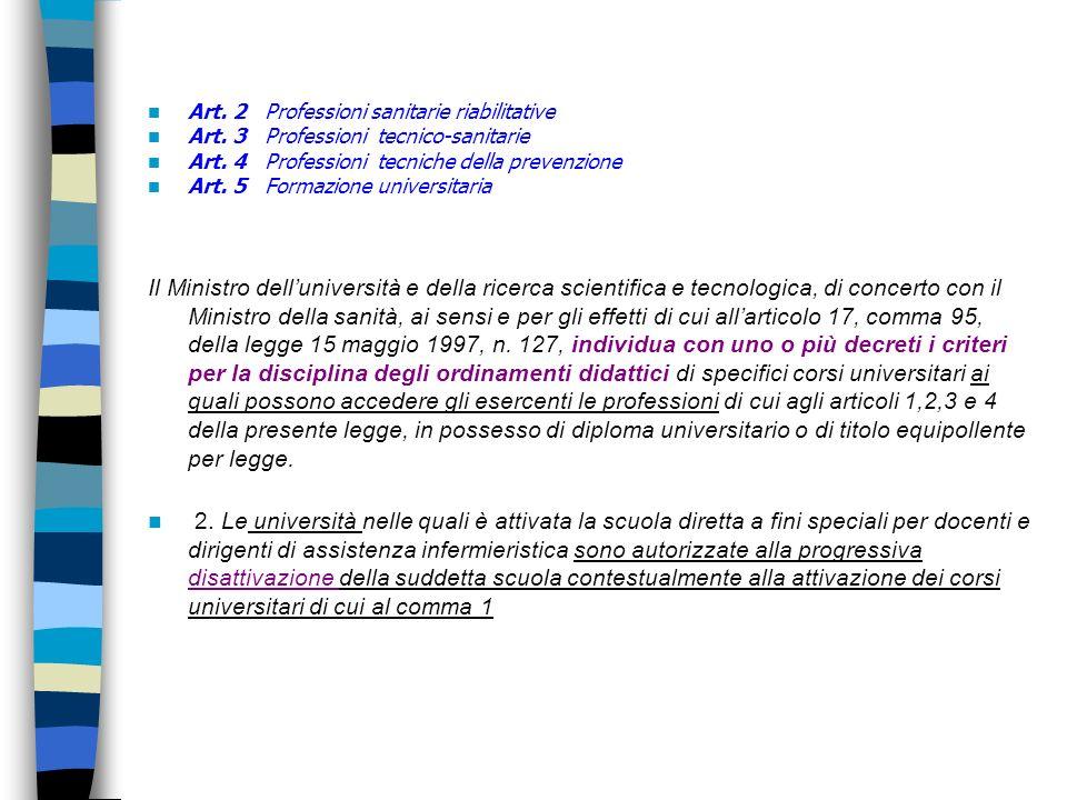 Art. 2 Professioni sanitarie riabilitative