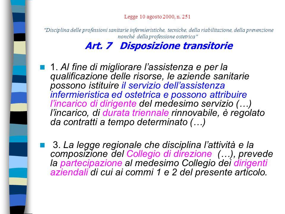 Legge 10 agosto 2000, n. 251 Disciplina delle professioni sanitarie infermieristiche, tecniche, della riabilitazione, della prevenzione nonché della professione ostetrica Art. 7 Disposizione transitorie