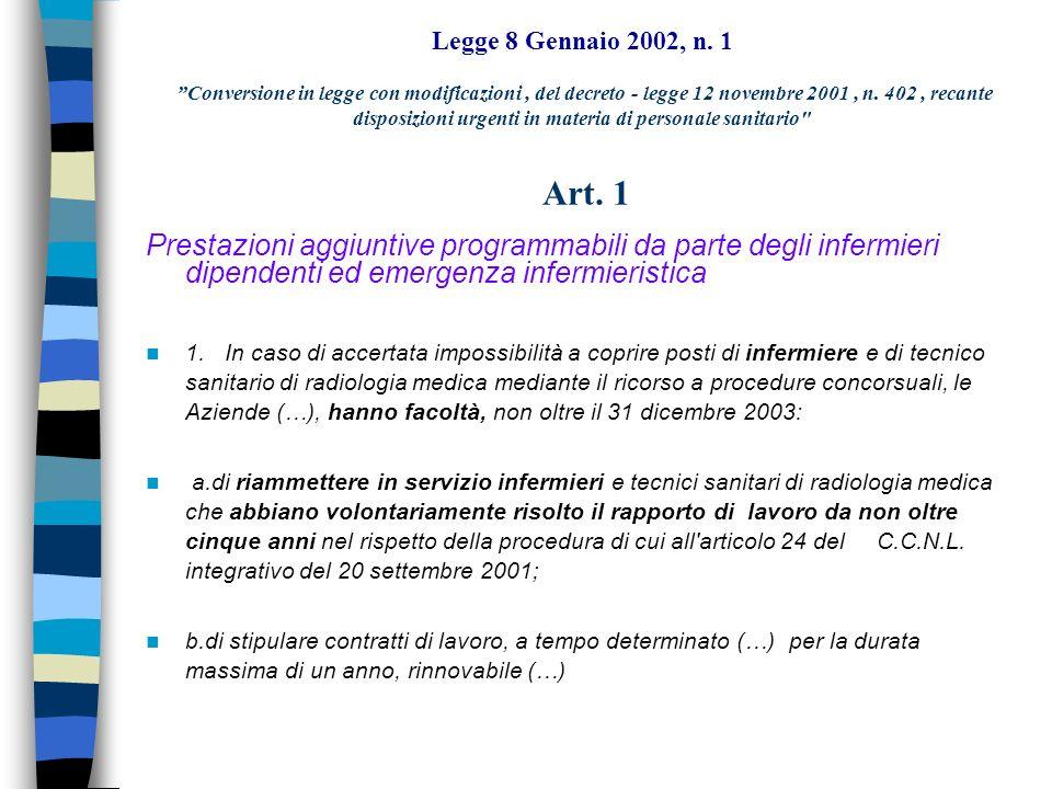 Legge 8 Gennaio 2002, n. 1 Conversione in legge con modificazioni , del decreto - legge 12 novembre 2001 , n. 402 , recante disposizioni urgenti in materia di personale sanitario Art. 1