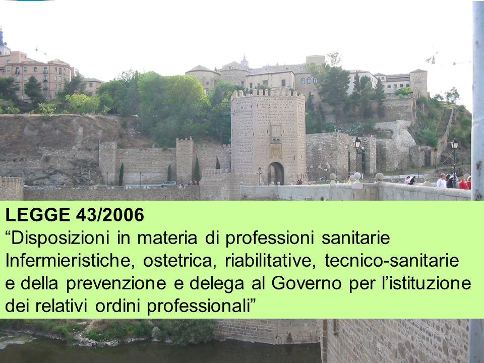 LEGGE 43/2006 Disposizioni in materia di professioni sanitarie. Infermieristiche, ostetrica, riabilitative, tecnico-sanitarie.