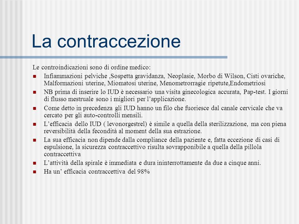 La contraccezione Le controindicazioni sono di ordine medico: