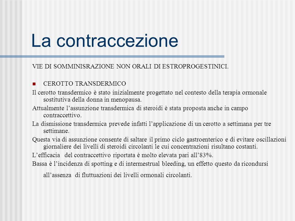 La contraccezione VIE DI SOMMINISRAZIONE NON ORALI DI ESTROPROGESTINICI. CEROTTO TRANSDERMICO.