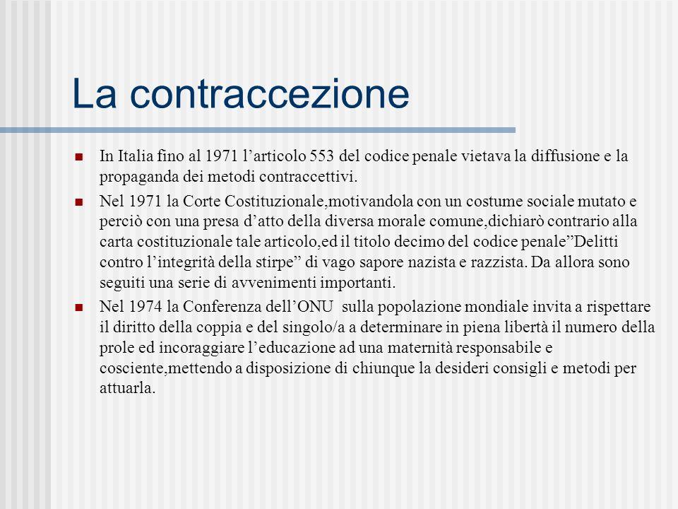 La contraccezione In Italia fino al 1971 l'articolo 553 del codice penale vietava la diffusione e la propaganda dei metodi contraccettivi.