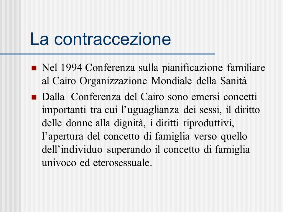 La contraccezione Nel 1994 Conferenza sulla pianificazione familiare al Cairo Organizzazione Mondiale della Sanità.